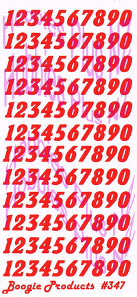 Boogie 1/24th Number Decals  BP 347